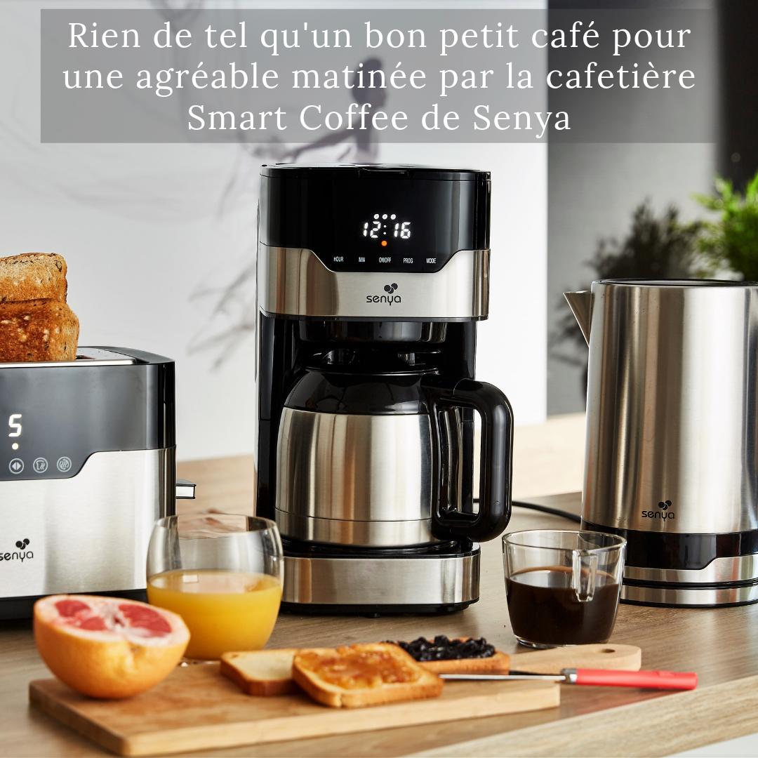 Senya cafetière électrique programmable isotherme Inox sélecteur d'arômes 1,2L Smart Coffee  SYBF-CM009