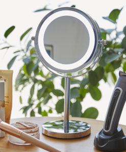 Miroir LED maquillage, Miroir, Miroir grossissant, Miroir grossissant lumineux, Miroir sur pied, Miroir salle de bain, Miroir rond