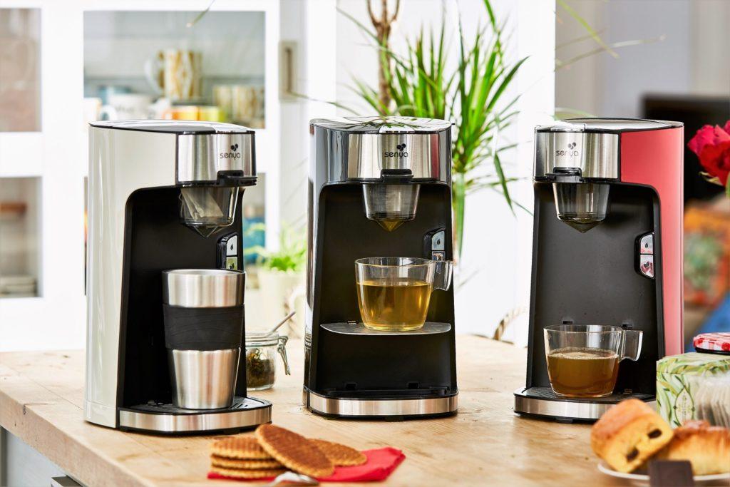 Vue d'ensemble des trois coloris de machine à thé