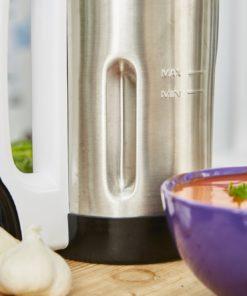 Avec sa grande capacité de 1.6L, il est super pour cuisiner pour toute la famille. Seniors, adultes et enfants pourront déguster vos réalisations. Son bol en acier inoxydable permet de maintenir vos préparations au chaud ou au froid pendant quelques temps.