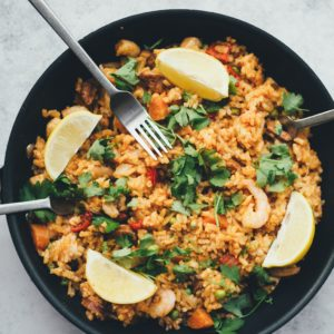 Recette de riz au crevette réalisé avec la fonction vapeur du blender cook&ice