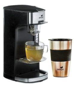 machine à thé électrique noir et son mug