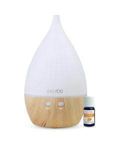 Diffuseur huiles essentielles, sans fil et électrique, ainsi que son huile à l'orange douce. Cette huile est fabriquée dans le nord de la France sur fond blanc