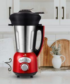 vue du blender cook&ice de senya de face avec le panier vapeur sur un plan de cuisine