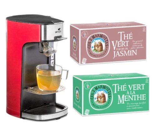 Machine a thé rouge avec le lot des 2 boites de thé Les 2 Marmottes