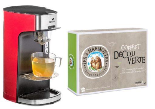 Machine à thé rouge Senya Tea Time et le coffret Découverte des 2 Marmottes
