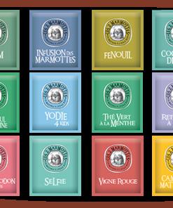 Coffret découverte les 2 Marmottes comprenant 72 sachets dont 12 parfums