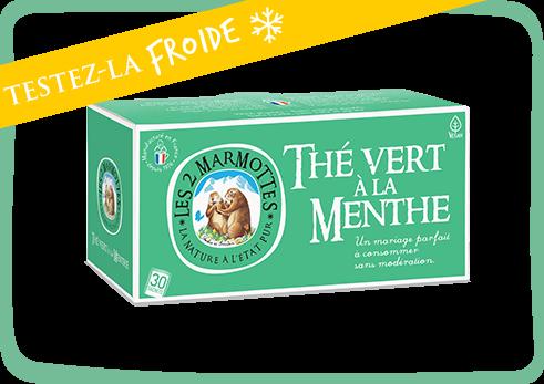 Thé vert à la menthe à deguster froid comme chaud des 2 marmottes
