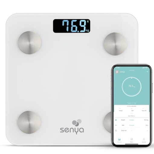 Senya Pèse personne impédancemètre Bluetooth, balance connectée pour Android et IOS blanc Smart Body SYBW-S007, synchronisation avec Apple Health, Google Fit, Samsung health Power, 2 piles AAA
